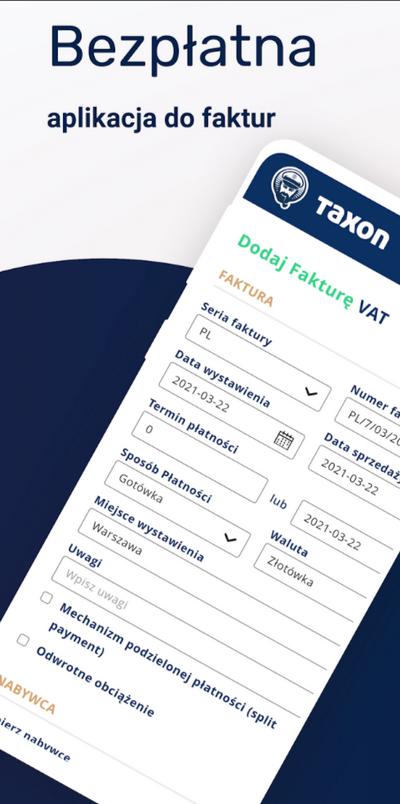 taxon bezpłatna aplikacja do faktury